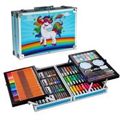 Детский набор для рисования и творчества Единорог двухуровневый 144 предмета в чемодане Голубой (4411304)