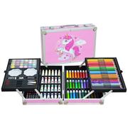 Набор для рисования и творчества Единорог детский двухуровневый 144 предмета в чемодане Розовый (8305134)