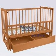 Детская кроватка For Baby No150 Сон деревянная маятник с откидным бортиком и шухлядой под кроватью Коричневая