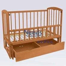Детская кроватка For Baby No157 Cometa деревянная маятник с откидным бортиком и шухлядой под кроватью Коричневая
