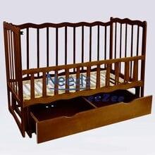 Детская кроватка For Baby No.159 деревянная маятник с откидным бортиком и шухлядой под кроватью Темно-коричневая