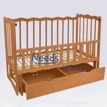 Детская кроватка For Baby No160 Sleep деревянная маятник с откидным бортиком и шухлядой под кроватью Коричневая