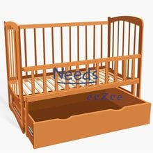 Детская кроватка For Baby No601 Комета деревянная маятник с откидным бортиком и шухлядой под кроватью Коричневая
