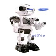 Робот игрушка Jia Yu Toy ходячий светящийся стреляет дисками со звуком 26 см Бело-черный (3253542)