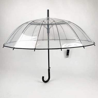 Зонт трость женский полуавтомат Max tp152 16 спиц Прозрачный с черным
