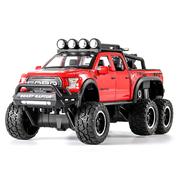 Машинка джип коллекционный ТК Union Group Ford Raptor металлический внедорожник с мотоциклом игрушечный с подсветкой фар 1:24 Красный (5554791)
