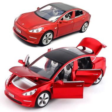 Коллекционная моделька ТК Union Group Tesla Model 3 металлическая машинка игрушка с подсветкой фар 1:32 Красный (2090953)