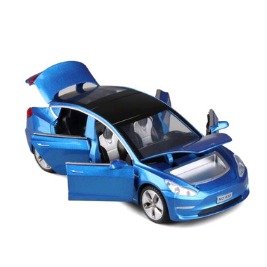 Машинка коллекционная ТК Union Group Tesla Model 3 металлическая моделька игрушка с подсветкой фар 1:32 Синий (1432294)