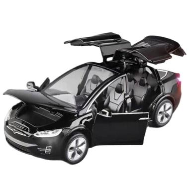 Машинка коллекционная ТК Union Group Tesla Model X металлическая моделька игрушка открываются двери 1:32 Черный (8836624)