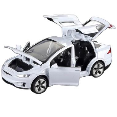 Машинка коллекционная ТК Union Group Tesla Model X моделька металлическая игрушка открываются двери 1:32 Белый (3088975)