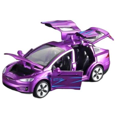 Машинка ТК Union Group Tesla Model X коллекционная моделька металлическая игрушка открываются двери 1:32 Фиолетовый (3532849)