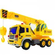 Автокран машинка игрушечная детская Wenyi 26 см инерционный со звуком и светом Желтый (527004)