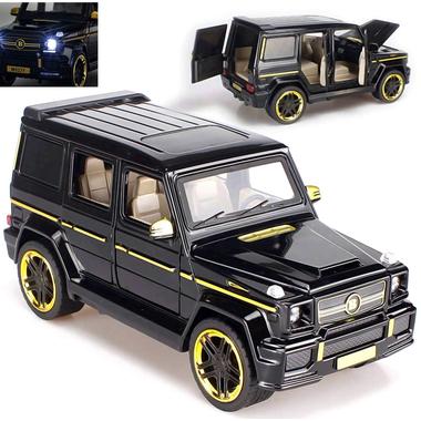 Машинка коллекционная ТК Union Group Гелендваген Brabus Mercedes-Benz G65 AMG металлическая игрушечная с подсветкой фар 1:24 Черный (2907142)