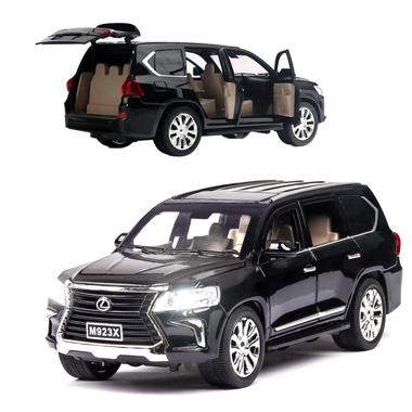 Машинка коллекционная моделька ТК Union Group Lexus LX 570 металлическая игрушечная с подсветкой фар 1:24 Черный (8710907)
