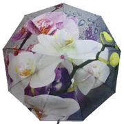 Зонт женский автомат Flagman складной 9 спиц купол 100 см с орхидеями в подарочной коробке (3876505)