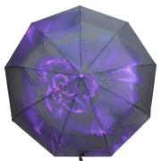 Женский зонт автомат Flagman складной 9 спиц купол 100 см в подарочной коробке Черно-фиолетовый (1799078)