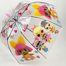 Детский зонт для девочки Paolo Rossi LOL-7105 с куклами полуавтомат 8 спиц трость Прозрачный