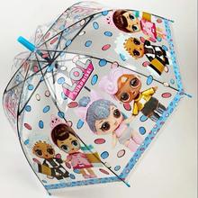 Детский зонт для девочки Paolo Rossi LOL-9431 с куклами полуавтомат 8 спиц трость Прозрачный